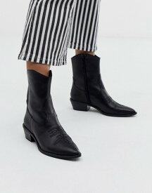 ベルシュカ レディース ブーツ・レインブーツ シューズ Bershka western leather ankle boot in black Black