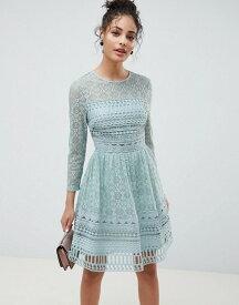 エイソス レディース ワンピース トップス ASOS DESIGN Premium Lace Mini Skater dress with long sleeves Mint green