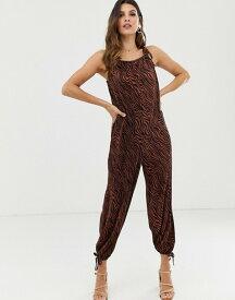エイソス レディース ワンピース トップス ASOS DESIGN plisse tie cuff balloon leg jumpsuit in zebra animal print Brown zebra