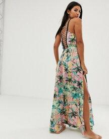 エイソス レディース ワンピース トップス ASOS DESIGN ombre tropical print beach maxi dress with lattice back Ombre tropical