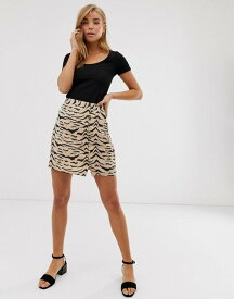 エイソス レディース スカート ボトムス ASOS DESIGN zebra print mini skirt with rouleau loop buttons Mono zebra