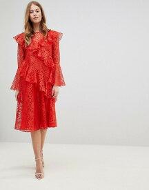 エイソス レディース ワンピース トップス ASOS Lace Midi Dress with Ruffles and Fluted Sleeves Red