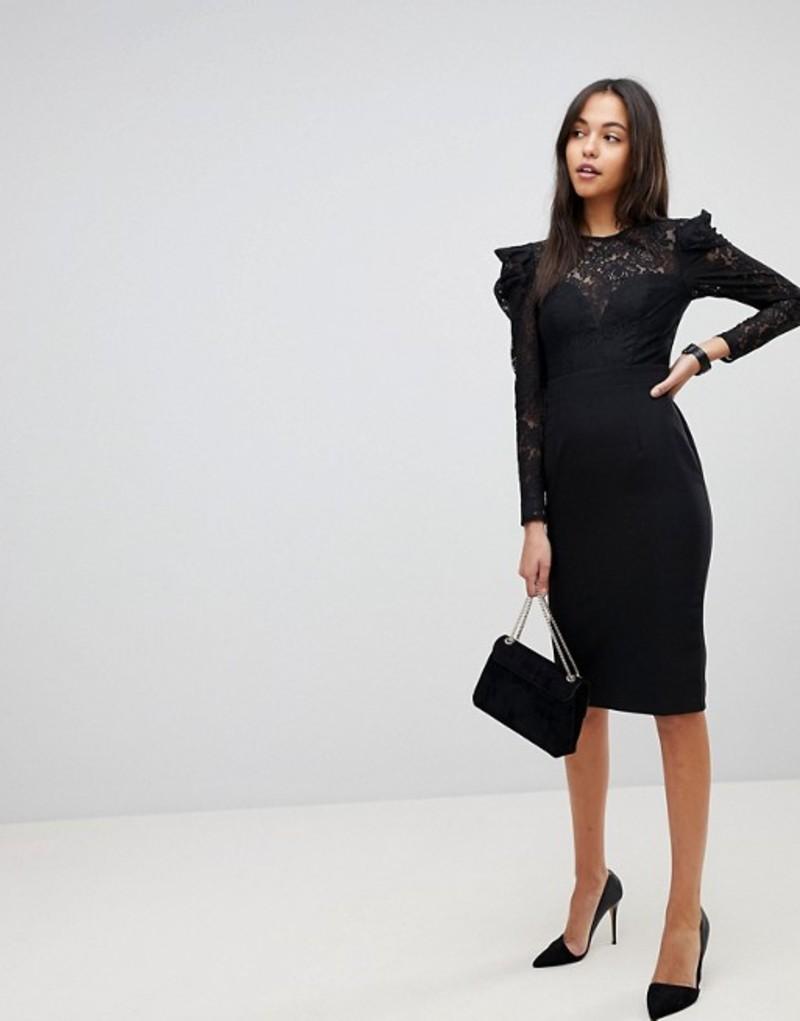 エイソス レディース ワンピース トップス ASOS Lace Top Midi Pencil Dress Black