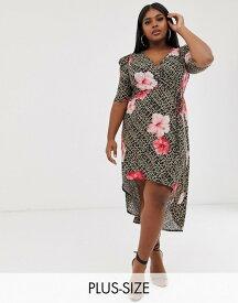ピンククローブ レディース ワンピース トップス Pink Clove mini wrap dress with ruched sleeves in tropical animal print Tropical animal