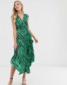 ウエアハウス レディース ワンピース トップス Warehouse midi dress with cowl back in zebra print Green