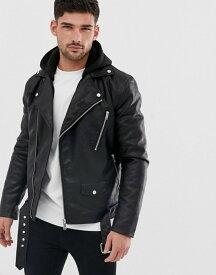 リバーアイランド メンズ ジャケット・ブルゾン アウター River Island faux leather biker jacket with hood in black Black
