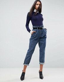 エイソス レディース デニムパンツ ボトムス ASOS Tapered Pants with Belt In Herringbone Denim Dark wash blue