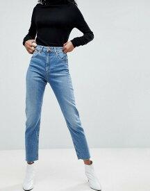 エイソス レディース デニムパンツ ボトムス ASOS FARLEIGH High Waist Slim Mom Jeans In Bastina Pretty Bright Mid Wash Mid wash blue