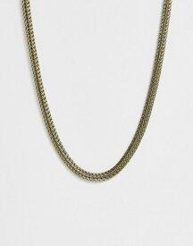 エイソス メンズ ネックレス・チョーカー アクセサリー ASOS DESIGN detailed neckchain in burnished gold tone Gold