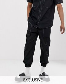 ザラグドプリースト メンズ カジュアルパンツ ボトムス The Ragged Priest utility sweatpants with contrast stitching two-piece Black