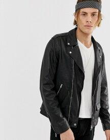 オールセインツ メンズ ジャケット・ブルゾン アウター AllSaints leather biker jacket in black Black