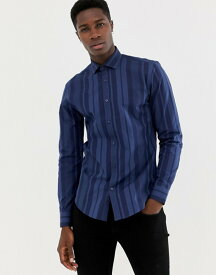 モス ブラザーズ メンズ シャツ トップス Moss London skinny fit shirt with bold navy stripe Navy