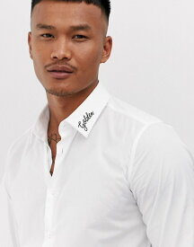 デビルズ アドボケート メンズ シャツ トップス Devils Advocate slim fit embroidered collar golden shirt White