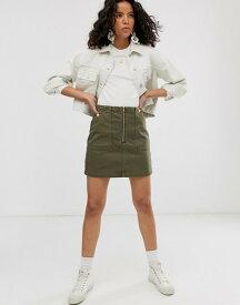 ウィークデイ レディース スカート ボトムス Weekday zip front mini denim skirt with oversized pockets in khaki Khaki