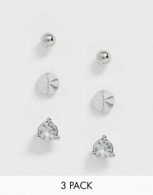 エイソス レディース ピアス・イヤリング アクセサリー ASOS DESIGN pack of 3 stud earrings with spike and crystal in silver tone Silver