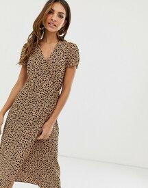 ウエアハウス レディース ワンピース トップス Warehouse wrap dress in leopard print Tan