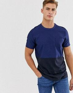 ジャック アンド ジョーンズ メンズ Tシャツ トップス Jack & Jones Premium one pocket block color t-shirt in navy Medieval blue dark n