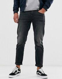 エイソス メンズ デニムパンツ ボトムス ASOS DESIGN tapered jeans in washed black in recycled cotton Washed black