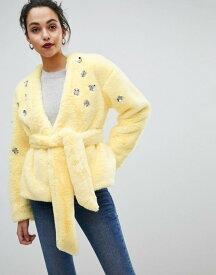 エイソス レディース ジャケット・ブルゾン アウター ASOS Faux Fur Jacket Yellow
