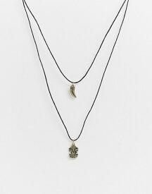 エイソス メンズ ネックレス・チョーカー アクセサリー ASOS DESIGN cord neckchain with summer inspired charms in burnished gold Black