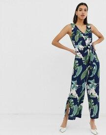 アックスパリ レディース ワンピース トップス AX Paris tropical print culotte jumpsuit Navy
