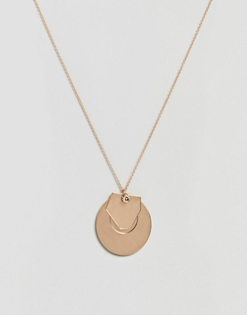 エイソス レディース ネックレス・チョーカー アクセサリー ASOS DESIGN circle disc and geo shape pendant necklace Gold