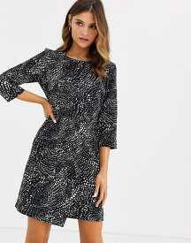 ウエアハウス レディース ワンピース トップス Warehouse mini pencil dress in black print Black/white