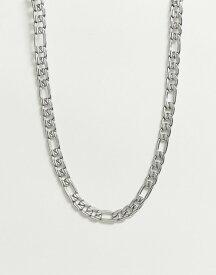 エイソス メンズ ネックレス・チョーカー アクセサリー ASOS DESIGN chunky short neckchain with clasp detail in silver tone Silver