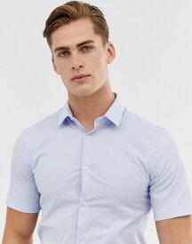 フレンチコネクション メンズ シャツ トップス French Connection Plain Poplin Stretch Short Sleeve Shirt Pale blue