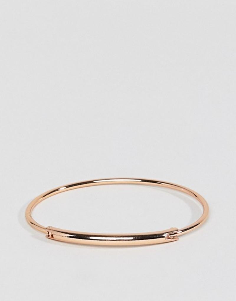 エイソス レディース ブレスレット・バングル・アンクレット アクセサリー ASOS DESIGN sleek tube bar hinge cuff bracelet Rose gold
