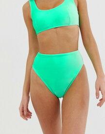 エイソス レディース ボトムスのみ 水着 ASOS DESIGN mix and match velvet high leg high waist bikini bottom in mint green Mint green
