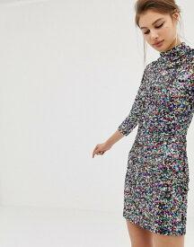 ウエアハウス レディース ワンピース トップス Warehouse high neck bodycon dress in rainbow sequin Multi