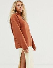 ウィークデイ レディース パーカー・スウェット アウター Weekday high neck sweater in rust Rusty caramel