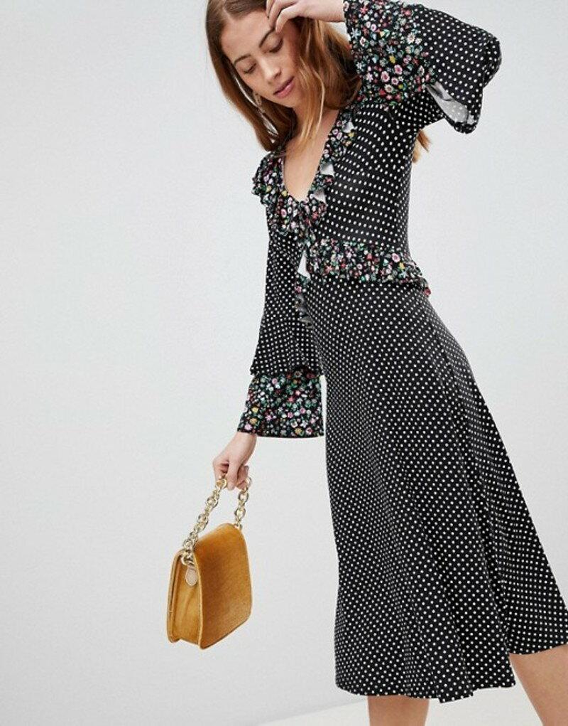 エイソス レディース ワンピース トップス ASOS Midi Mixed Print Ruffle Tea Dress Mixed print