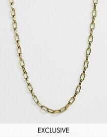 リクレイム ヴィンテージ メンズ ネックレス・チョーカー アクセサリー Reclaimed Vintage inspired box link neckchain in burnished gold exclusive to ASOS Gold