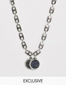 リクレイム ヴィンテージ メンズ ネックレス・チョーカー アクセサリー Reclaimed Vintage inspired chunky short neckchain with bottle top in burnished silver exclusive to ASOS Silver