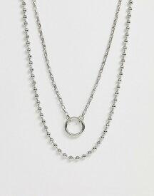エイソス メンズ ネックレス・チョーカー アクセサリー ASOS DESIGN layered neckchain with ball chain detail Silver