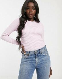 エイソス レディース ニット・セーター アウター ASOS DESIGN crew neck sweater in skinny rib Pink