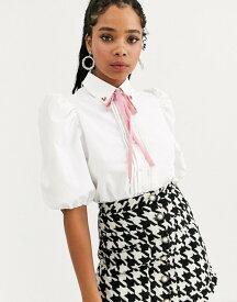 シスタージュン レディース シャツ トップス Sister Jane puff sleeve shirt with heart collar in cotton Ivory