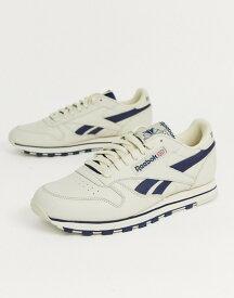 リーボック メンズ スニーカー シューズ Reebok classic leather sneakers in off white with navy vector Navy