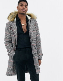 デビルズ アドボケート メンズ コート アウター Devils Advocate premium wool blend oversized check parker with faux fur collar Multi