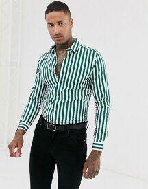 デビルズ アドボケート メンズ シャツ トップス Devils Advocate slim fit cotton stripe long sleeve shirt Green