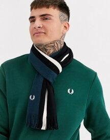 フレッドペリー メンズ マフラー・ストール・スカーフ アクセサリー Fred Perry stripe raschel scarf in black and green Black