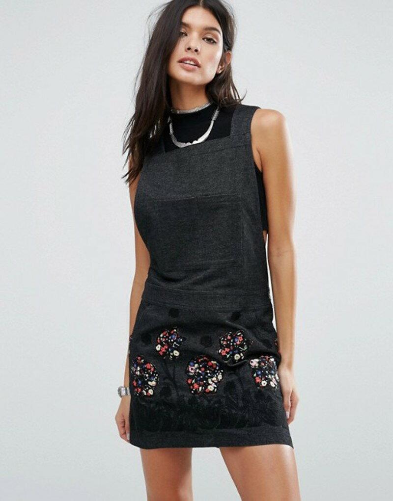 アナスイ レディース ワンピース トップス Anna Sui Pansy Applique Denim Dress Black multi