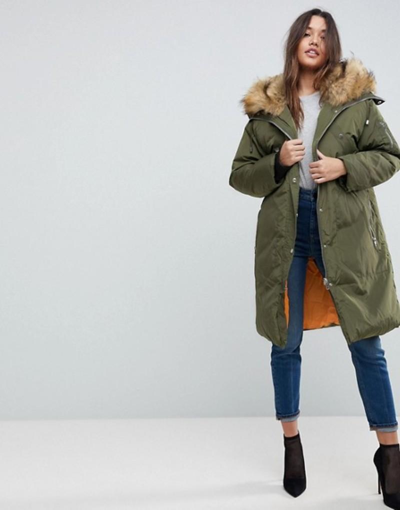 エイソス レディース パーカー・スウェット アウター ASOS Parka with Luxe Faux Fur Zip Through Hood Khaki
