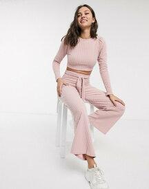 エイソス レディース パーカー・スウェット アウター ASOS DESIGN tracksuit sweat with puff sleeve / wide leg jogger in supersoft rib Pink