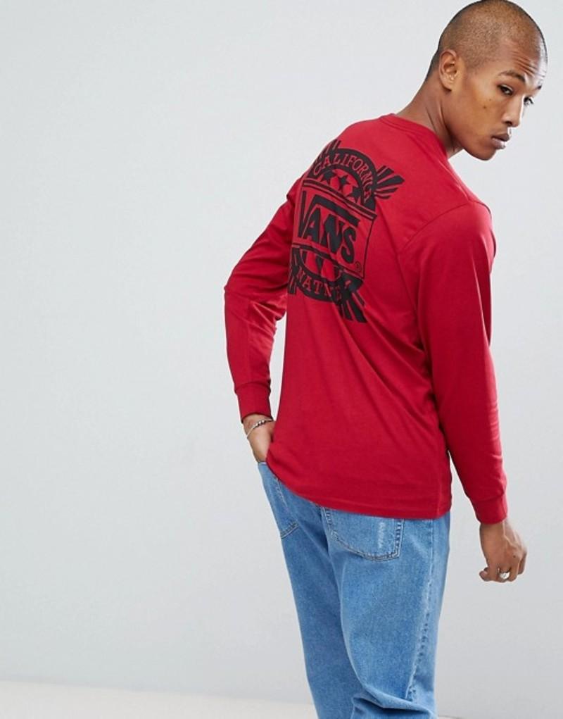 バンズ メンズ Tシャツ トップス Vans Style 238 Long Sleeve Top In Red VA36TZCAR Red