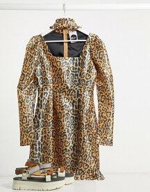 ザラグドプリースト レディース ワンピース トップス Milk It Vintage puff sleeve leopard dress with cut out detail Leopard print