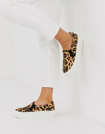 エイソス レディース スニーカー シューズ ASOS DESIGN Dallas chunky leather slip on plimsolls in leopard Leopard pony