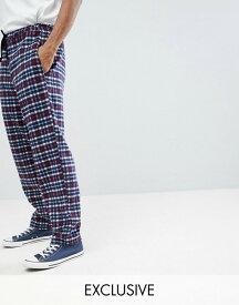 リクレイム ヴィンテージ メンズ カジュアルパンツ ボトムス Reclaimed Vintage Inspired Track Pants In Check Navy